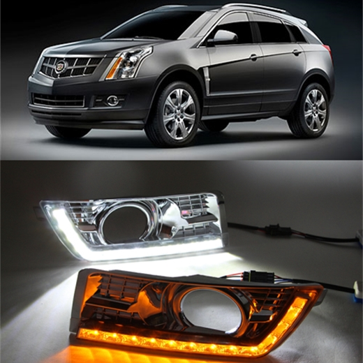 LED Daytime Running Light for Cadillac SRX 2 2012 2013 2014 LED DRL with Yellow turning lights chrome fog lamp cover