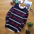 Venda quente Nova Moda Outono Inverno Pullover Camisola Tarja Camisola de Malha Suéteres E Pulôveres dos homens de Alta Qualidade Dos Homens M-5XL