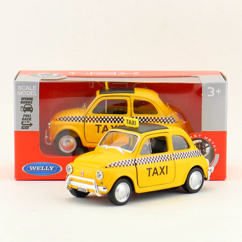 Brand New WELLY 1/36 Scale Italy FIAT Nuova 500 Taxi Diecast Metal Pull Back Car Model Toy For Gift/Kids/Collection