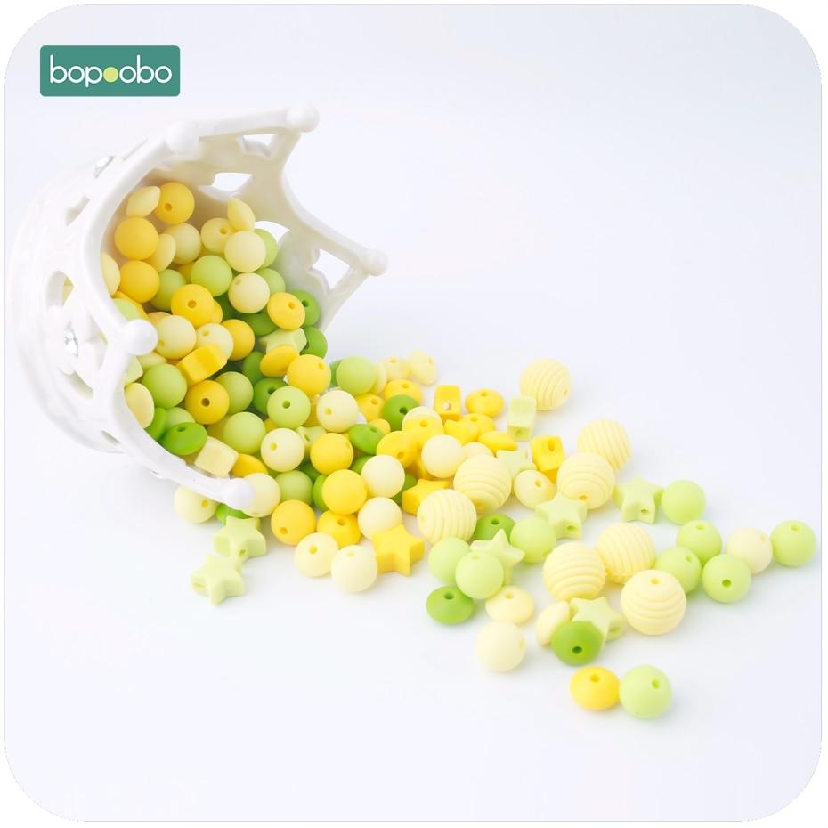 Bopoobo 20pc Silicone Teether Christmas Beads Set Mini Stars Abacus Thread Bead Cute Beads BPA Free DIY Bracelet Baby Teether