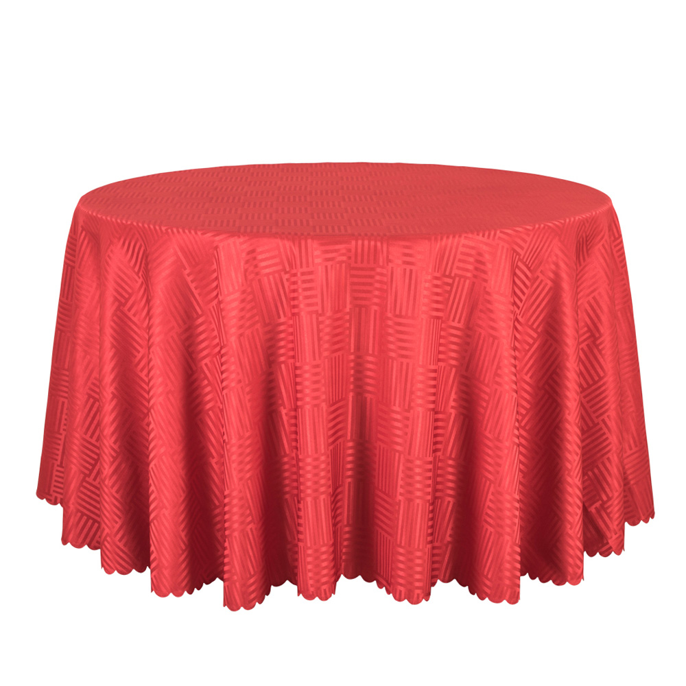 10PCS Jacquard Striped Round Tablecloth Red Gold White Table Covers Square  Table Linen Wedding Party Hotel