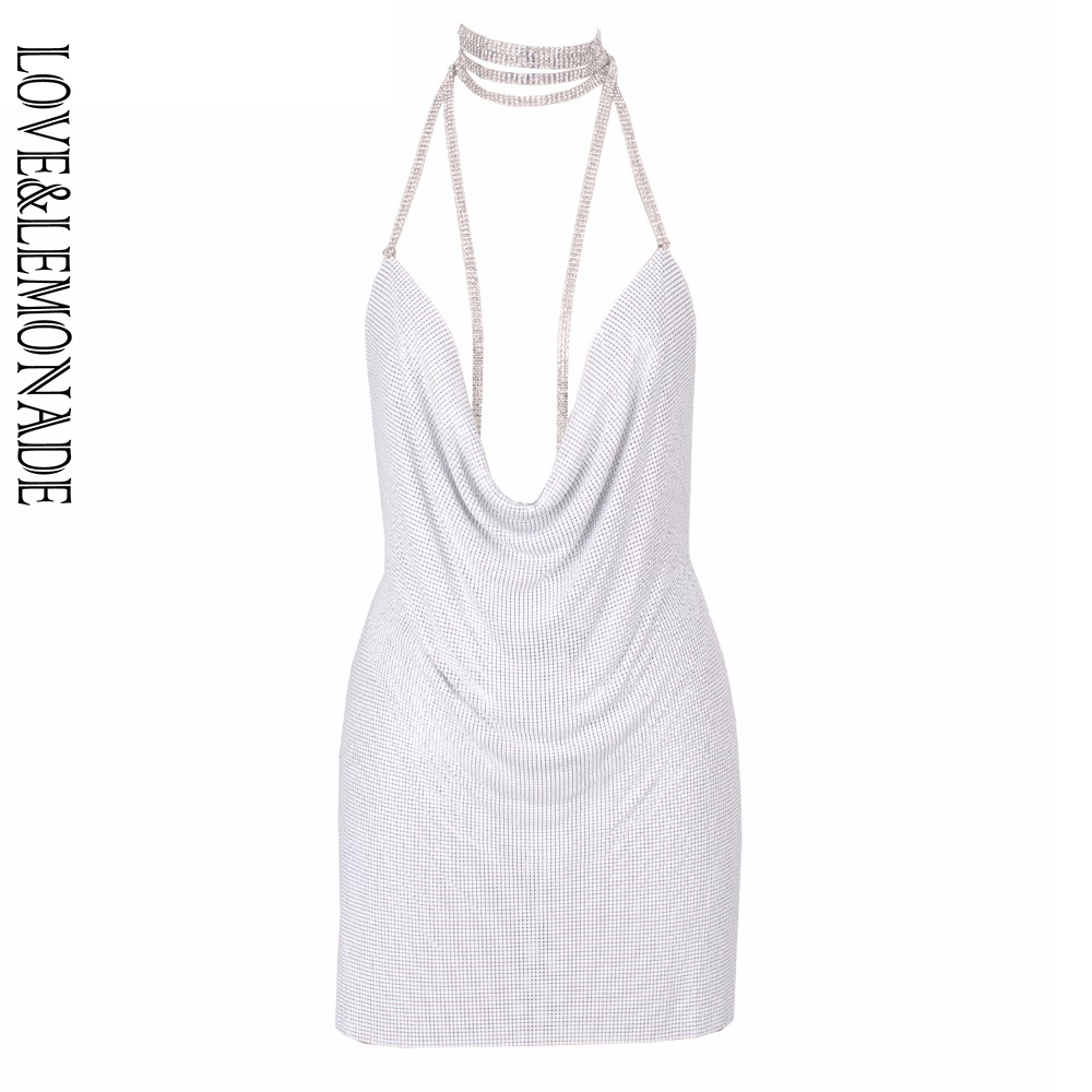Love Lemonade Halter Metal Party Party Dress White TB 9868