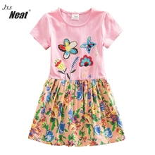 Girl Summer Dress NEAT Round Collar Cotton Clothing Flower Pattern Print Pink Lovely Clothes Short Sleeve H6250