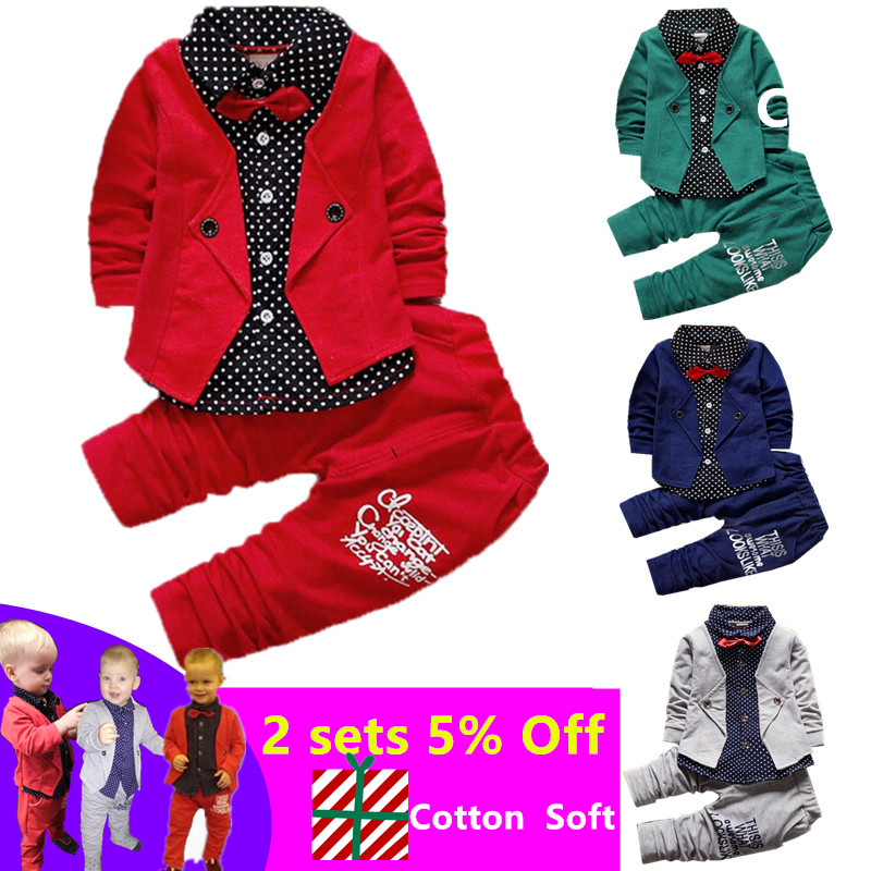 2019 Baby Boys Spring Casual Clothing Sets Baby Kids Button Letter Bow Clothing Set Baby Girls Autumn Jacket+Pant Suit Set