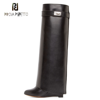 Prova Perfetto fashion belt strap shark lock decor genuine leather knee high boots pointed toe motorcycle boots wedge high heels