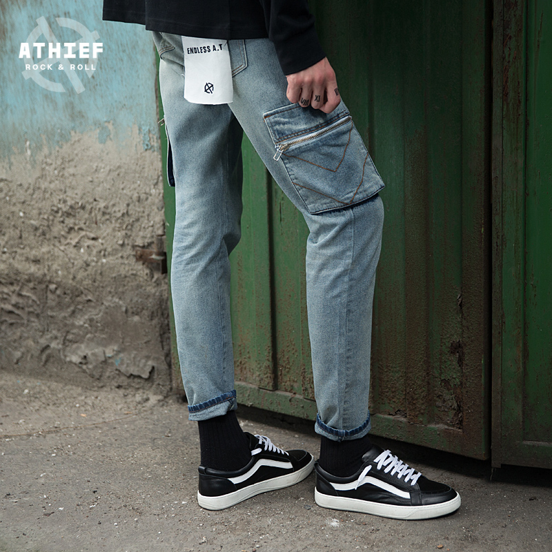 Athief Jeans Light colored holes men pocket pants Europe United States new autumn
