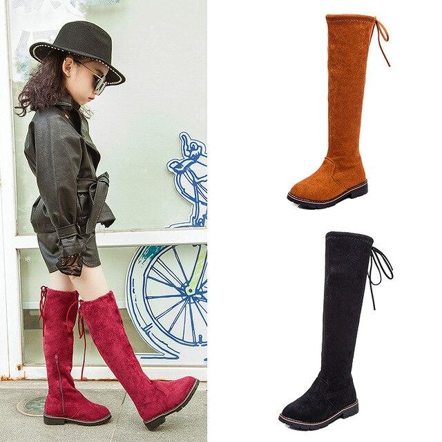 Bahar Sonbahar kızlar diz yüksek çizmeler bebek çizmeleri çocuklar diz moda botları çocuk düz ayakkabı süet geri lacing 3 ila 13 yıl