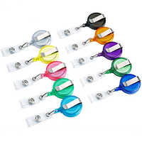 10pcs/lot 24 Colors Office & School Supplies Badge Holder Retractable Ski Pass ID Card Badge Name Tag Holders Anti-Lost Clip