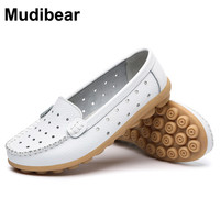 New Sweet Genuine Leather Lady Shoes Pure Lady Openwork Shoes Beef Peas At The End Of