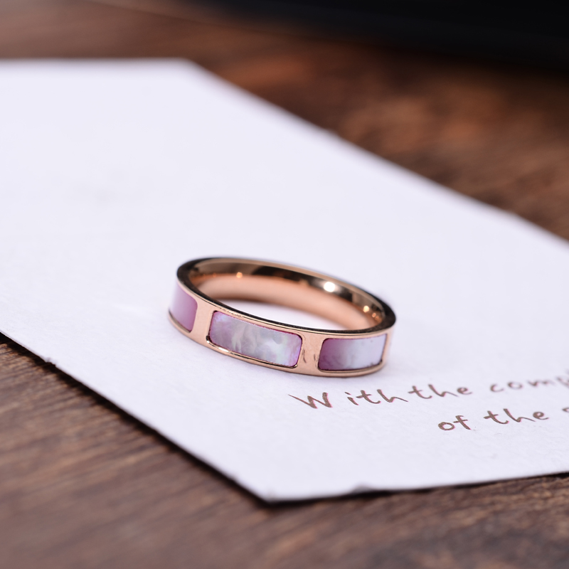 YUN RUO New Arrival Rose Gold Color Elegant Pink Shell Ring For Woman Gift Party Stainle ...
