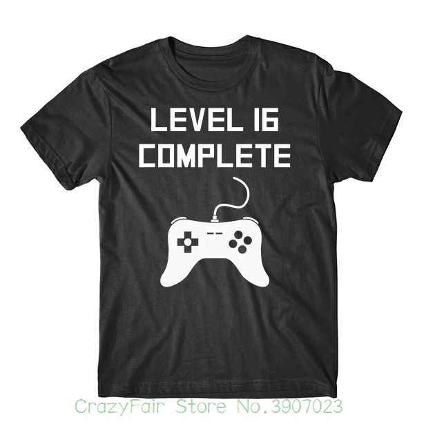 Level 16 Complete Funny Video Games 16th Birthday T-shirt Print Cotton High Quality
