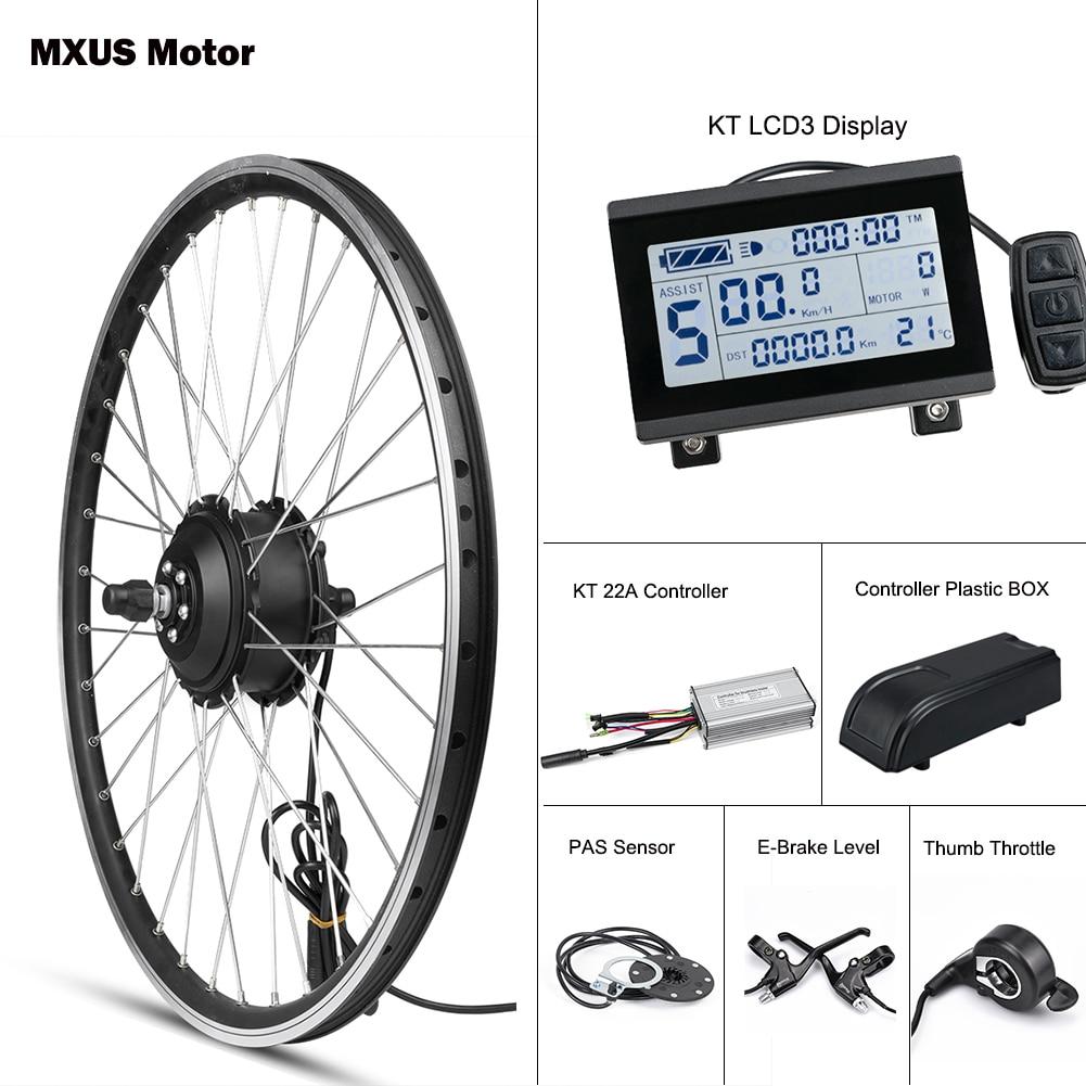 Mxus e kit de bicicleta da roda traseira do motor dianteiro 36 v 48 v 350 w kit conversão bicicleta elétrica hub brushless controlador com display kt lcd3