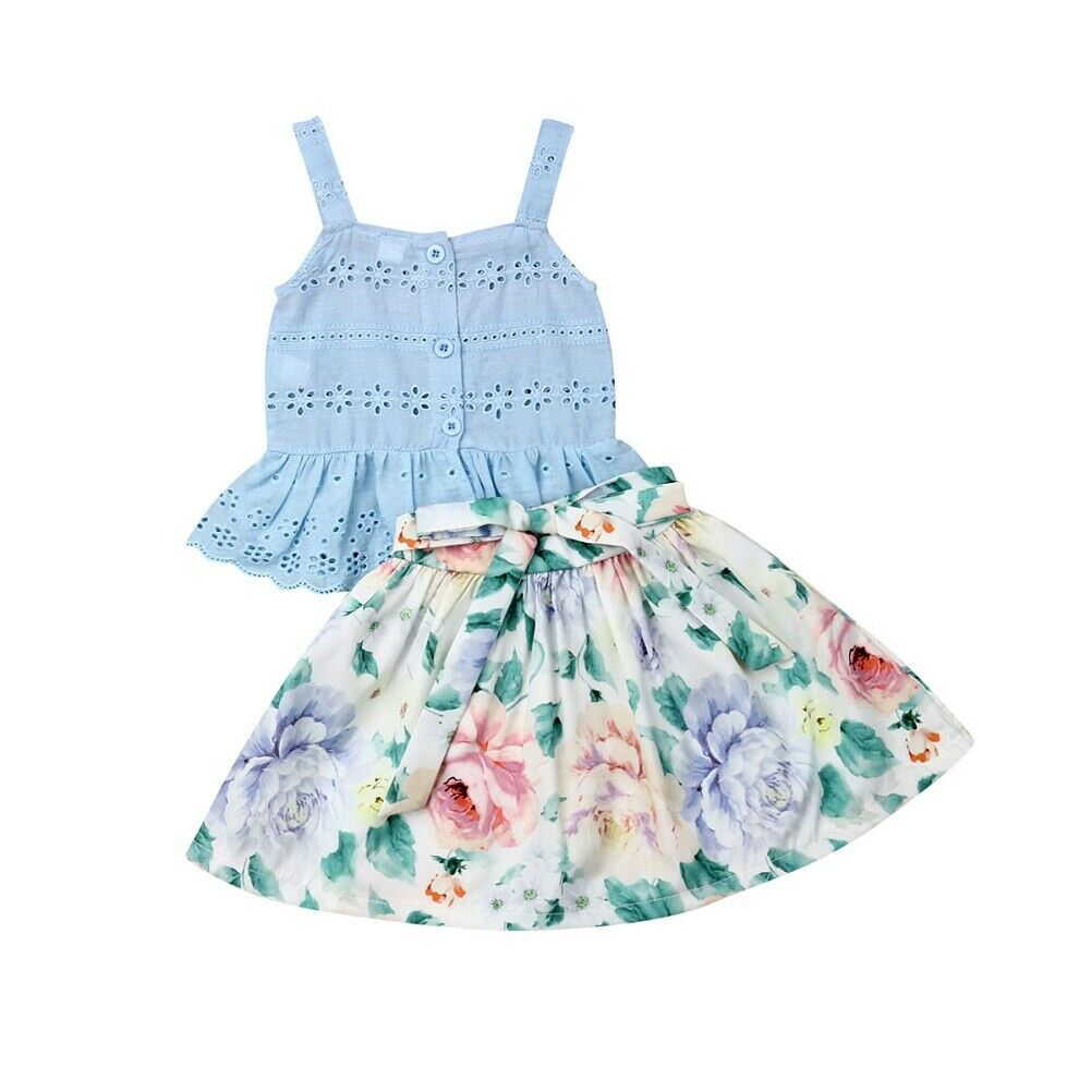 Hot Lovely Toddler Baby Girl Hollow Out Vest Tops Floral  Short Dress Summer Outfit Clothes