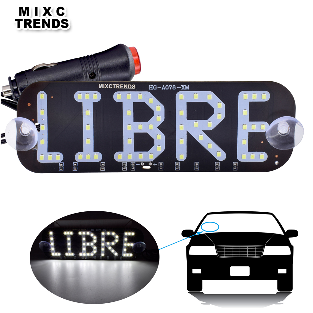 US $6 11 40% OFF|1Pcs Taxi Libre Led Signs Car Styling Libre Led Panel  Light Car Windscreen Cab Indicator Warning Light with Cigarette Lighter-in  Car