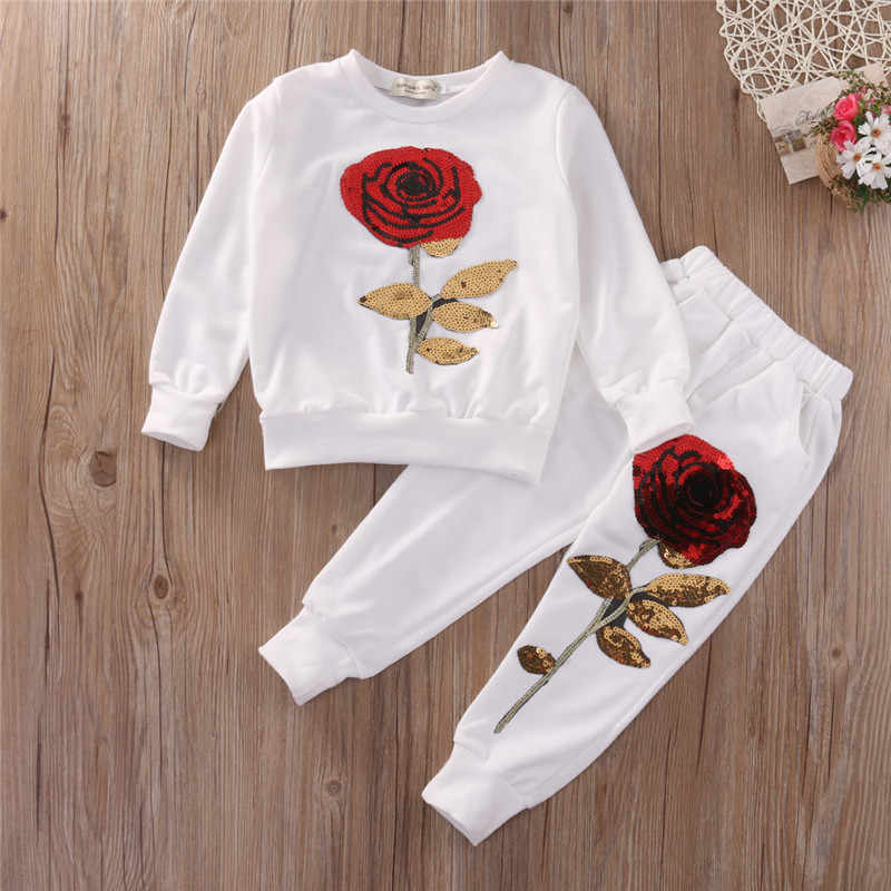 b5da993a2 Kids Girl Clothes Designer Girls Tracksuit Boutique Kids Clothing Rose  Sequin Print Hoodies Pant Toddler Girl