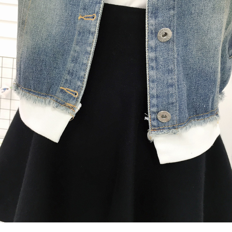 New Autumn Casual Hooded Short Denim Jacket Women Fashion Splicing Patch Coat Plus size Pockets Loose Jackets Jeans Coat Female 57