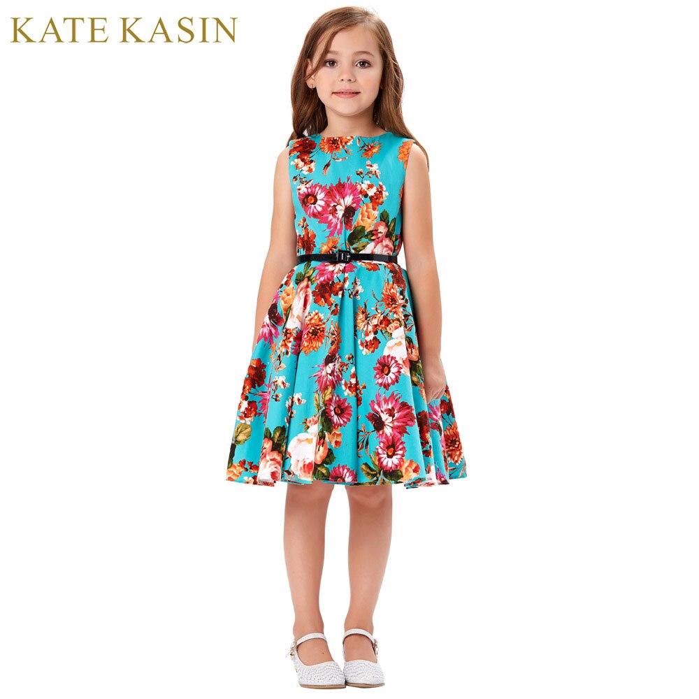 Kate Kasin Summer Girl Children's Floral Princess Dress Sleeveless O-Neck Vintage Belt Swing Costume Casual Becah Sundress 6-12Y