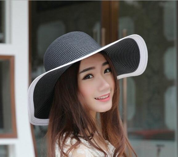 3d8e1b08ae0 Wholesale Designer Ladies Black Wide Brim Paper Hat Fashion Women Big Summer  Straw Beach Hats Trendy Womens Large Sun Cap China
