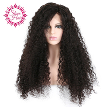 """250% Density Slove Brazilian Curly Wig 12-24"""" Can Be Dyed Remy Human Hair Wigs Natural Black Color For Black Women Pre Plucked"""