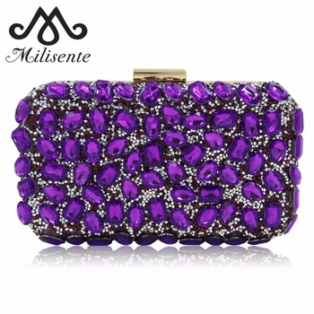 Milisente Women Evening Bag Gold Clutches Bags Blue Party