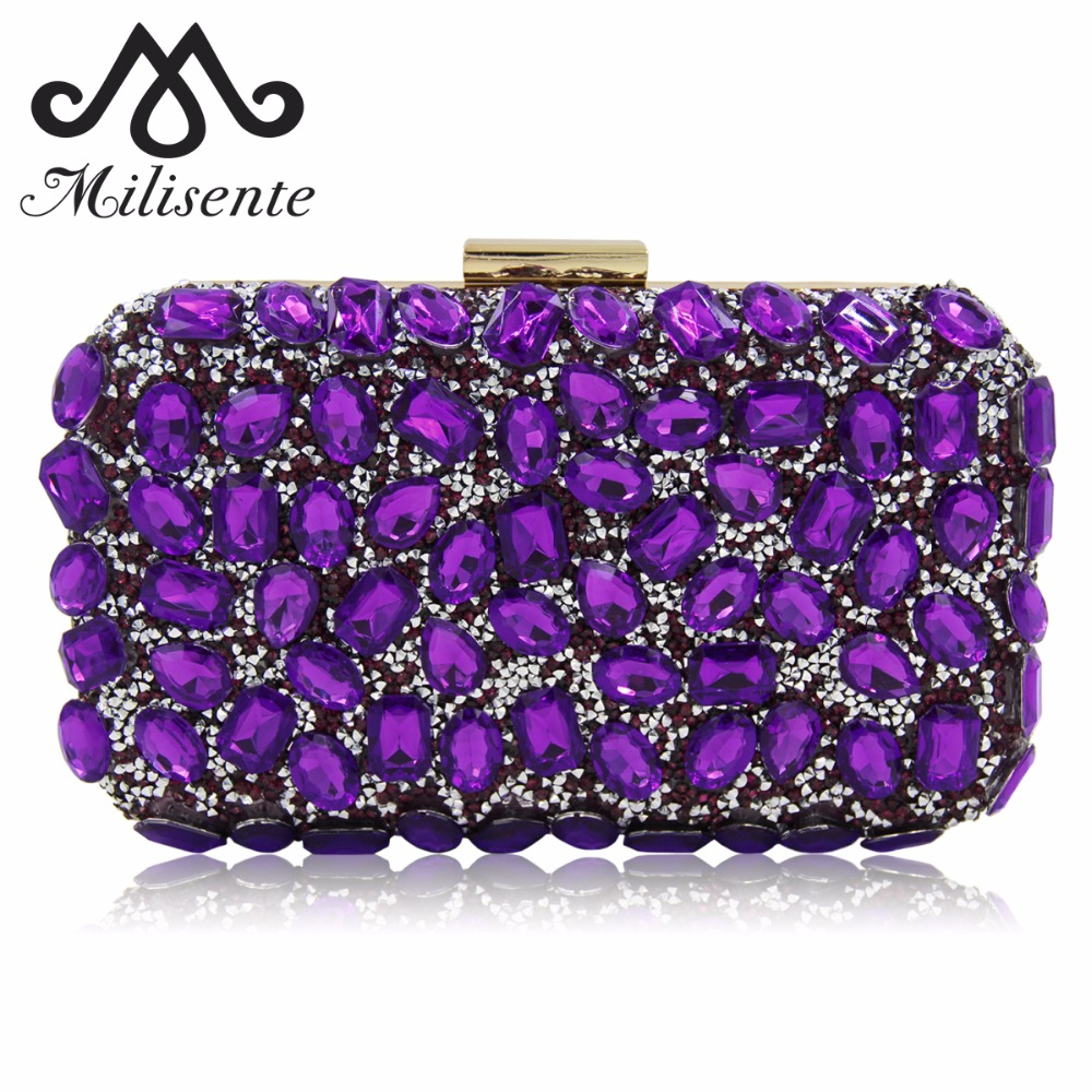 Milisente Women Evening Bag Gold Clutches Bags Blue Party Silver Wedding Party Purple Clutch Purses milisente women luxury rhinestone clutch evening handbag ladies crystal wedding purses dinner party bag gold