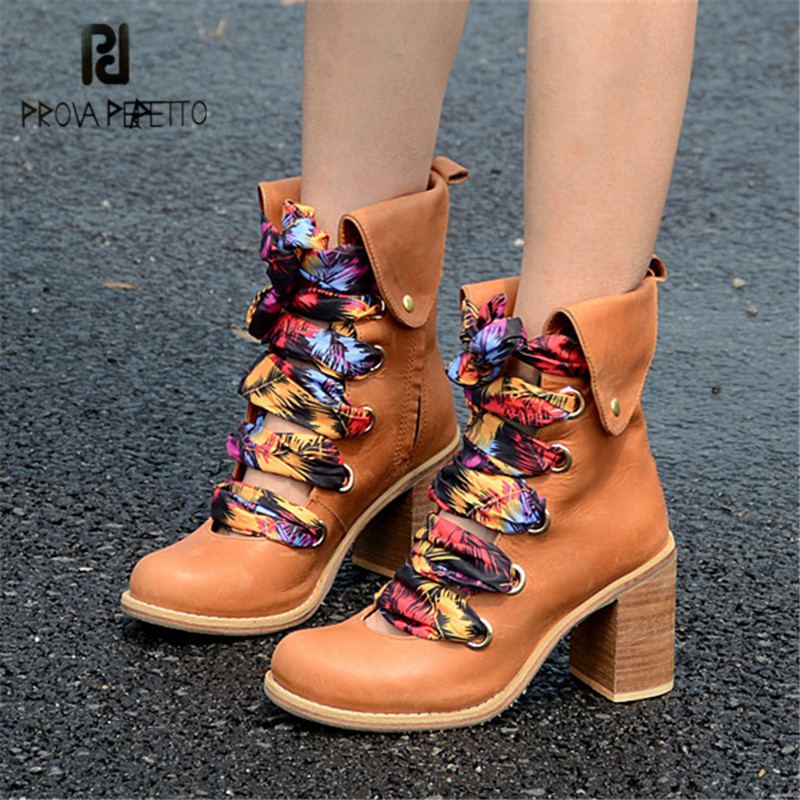 Prova Perfetto Fashion Brown Women Ankle Boots Genuine Leather Chunky High Heel Booties Autumn Lace Up Riband Platform Botas women ankle boots medium heel genuine leather booties vintage thick suede round toe chunky shoes slip on platform brown fall