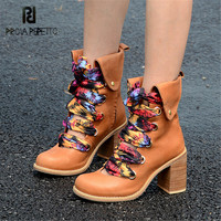 Prova Perfetto Fashion Brown Women Ankle Boots Genuine Leather Chunky High Heel Booties Autumn Lace Up Riband Platform Botas
