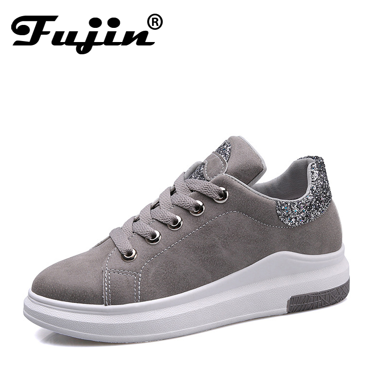 Fuijin 2018 Spring Summer Autumn women Fashion sneakers  female casual shoes  platform PU leather classic cotton lace up shoes free shipping fashion loss weight women shoes spring summer autumn swing female breathable mesh shoes women casual shoes 2717w