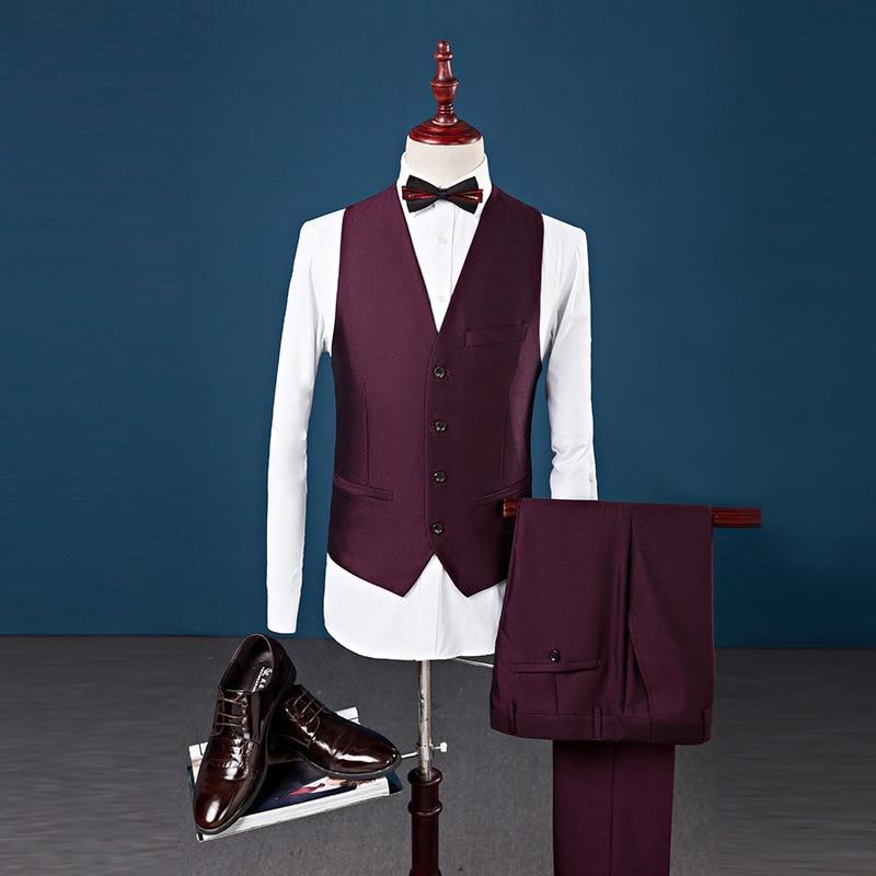 PYJTRL clásico chal Collar hombre traje de tres piezas vino rojo azul real talla grande 4XL negocios Casual fiesta boda trajes para hombres-in Trajes from Ropa de hombre    3