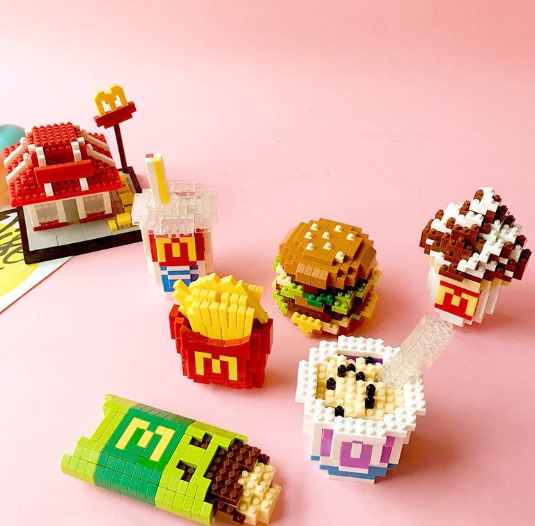 Wesehawk mini blocs de construction jouets 2019 3D paquet alimentaire série petits blocs de diamant enfants