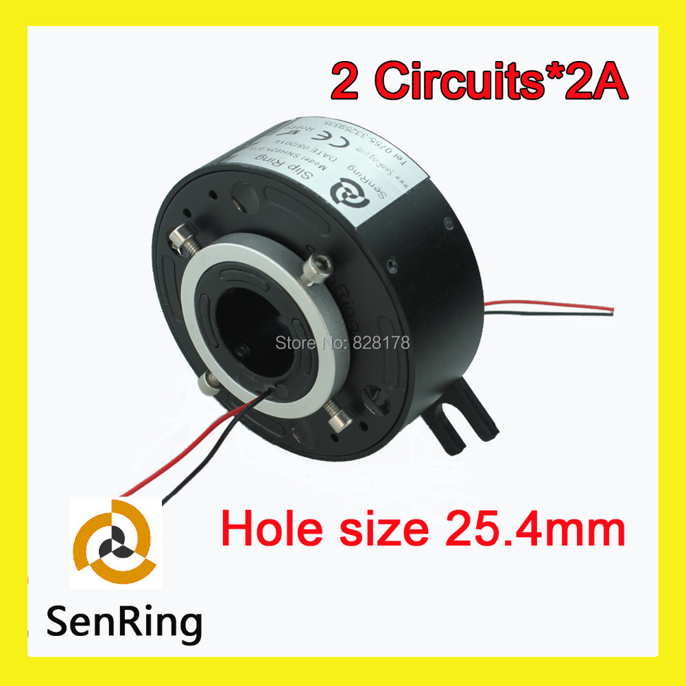 Through hole slip ring 2 wires/circuits signal 2A contact with bore size 25.4mm
