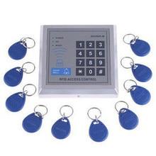 Free shipping 125KHZ EM RFID Access Control System Standalone Access control key pad + 10 Key Fobs+ power supply