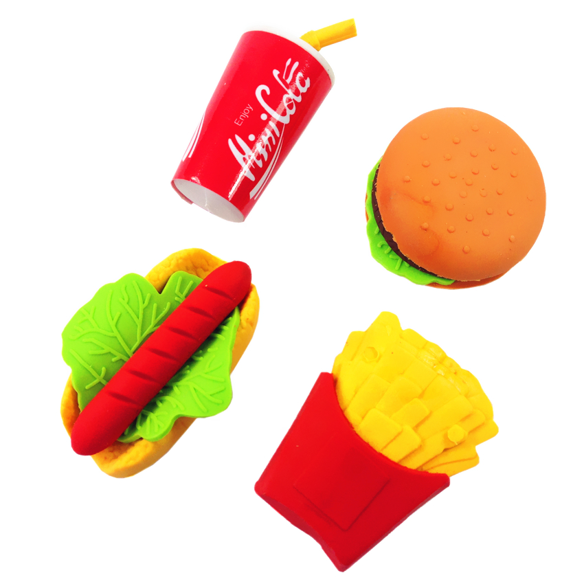 48pcs/lot Burger Cola Fries Hot Dog Design Eraser Food Drink Rubber Eraser Detachable Brain Game For Kids School Office Supplies