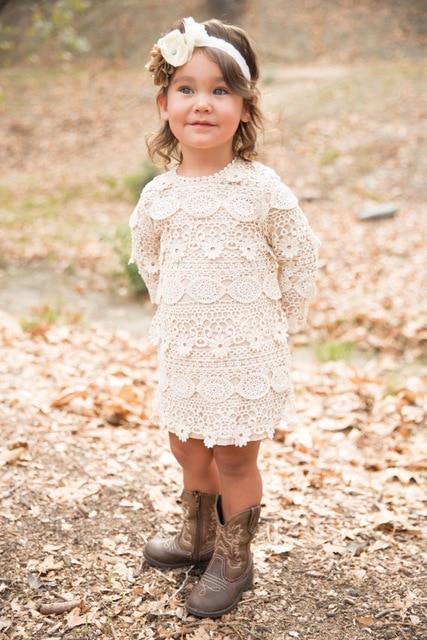 Crochet Long Sleeve Lace Dress Flower Girl Dressrustic Country