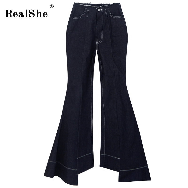 RealShe Black Split Flared Plain Pants 2017 Fall High Waist Denim Trousers Women With Pockets Ladies Casual Pants For Women frank buytendijk dealing with dilemmas where business analytics fall short