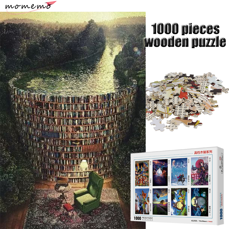 MOMEMO Bookshelf Canal Adult Puzzle 1000 Pieces Wooden Toy Jigsaw Puzzles Games Children Educational Toys