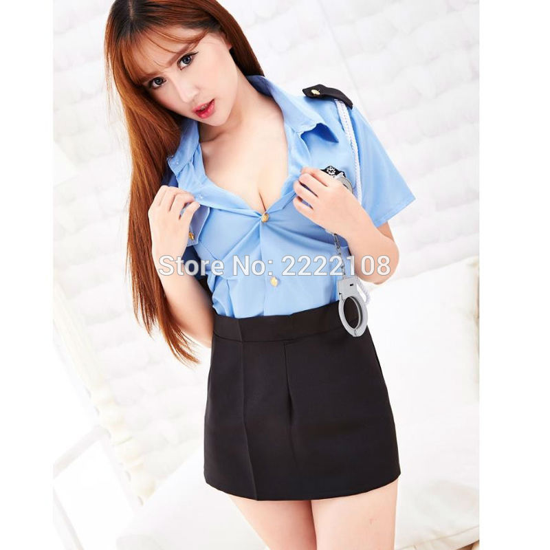 Cheap Police Party Costume Sexy Female Police Uniform ladies police cosplay costume sexy cop uniform KTV stage step skirt +shirt