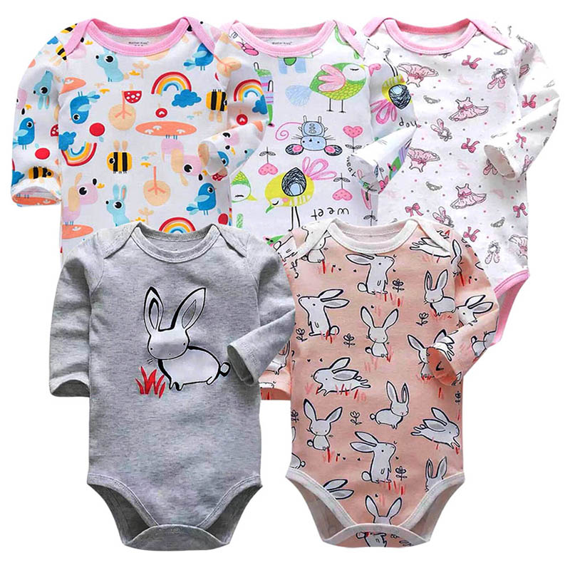 5piece/lot Tender Babiesnewborn bodysuit baby babies bebes clothes long sleeve cotton printing infant clothing 0-24 Months
