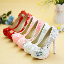 heart blue gems white pearl high heels wedding shoes red bottom high heels