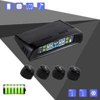 Solar Power TPMS LCD Display Car Wireless Tire Tyre Pressure Monitoring System 4 External Sensors For