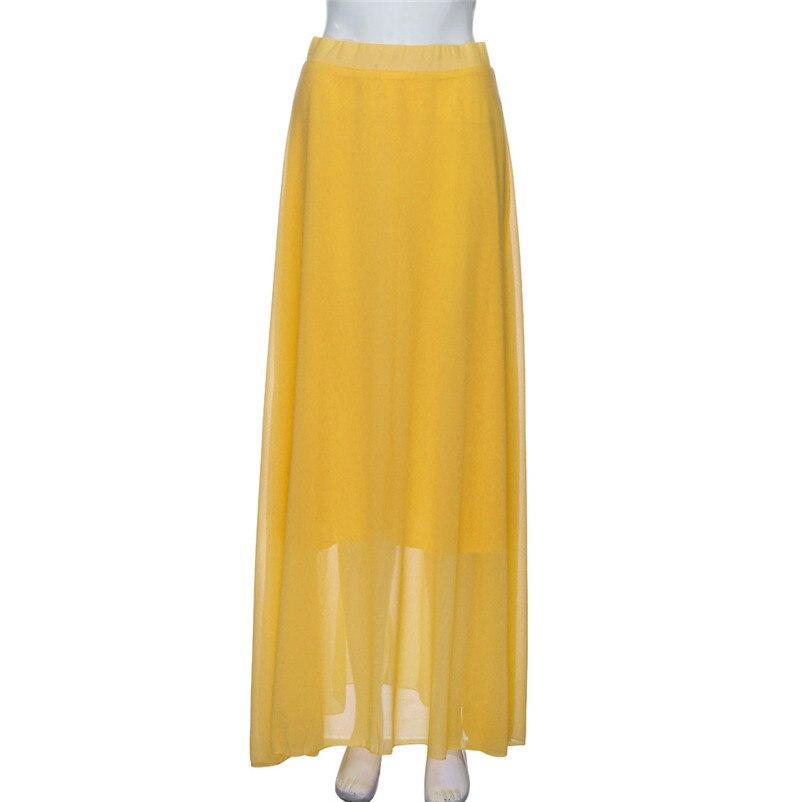 HOT sell Fashion 2018 Summer style skirts womens Chiffon Stretch High Waist Maxi Skater Flared Pleated Long Skirt Saia Y05#N (10)