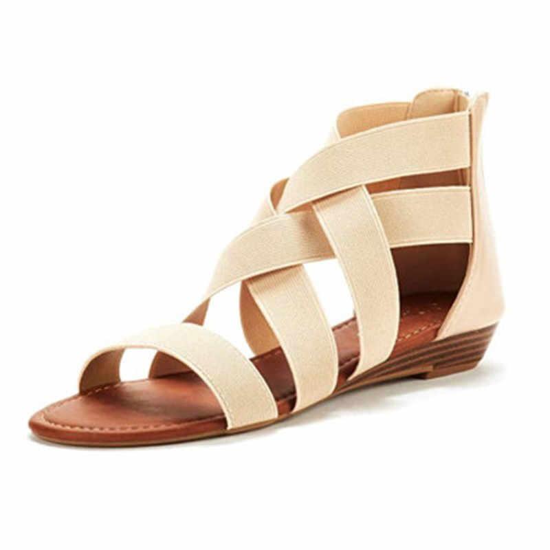 HEFLASHOR kadın sandalet 2019 sıcak moda kadınlar yaz plaj roma sandalet bayanlar açık ağızlı düz sandalet rahat kadın ayakkabısı