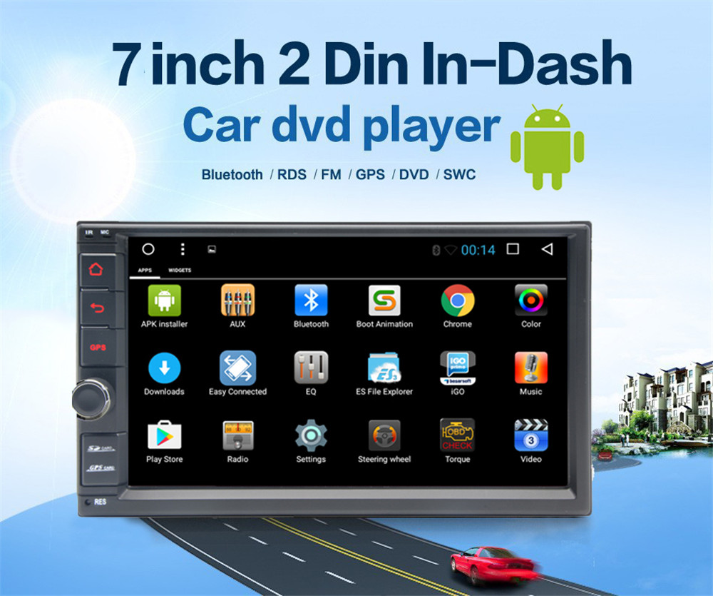 "7"" 2Din Android 8.1 Car Multimedia Player Universal Car GPS Navigation Stereo Audio HD 1024*600 WIFI Bluetooth Autoradio"