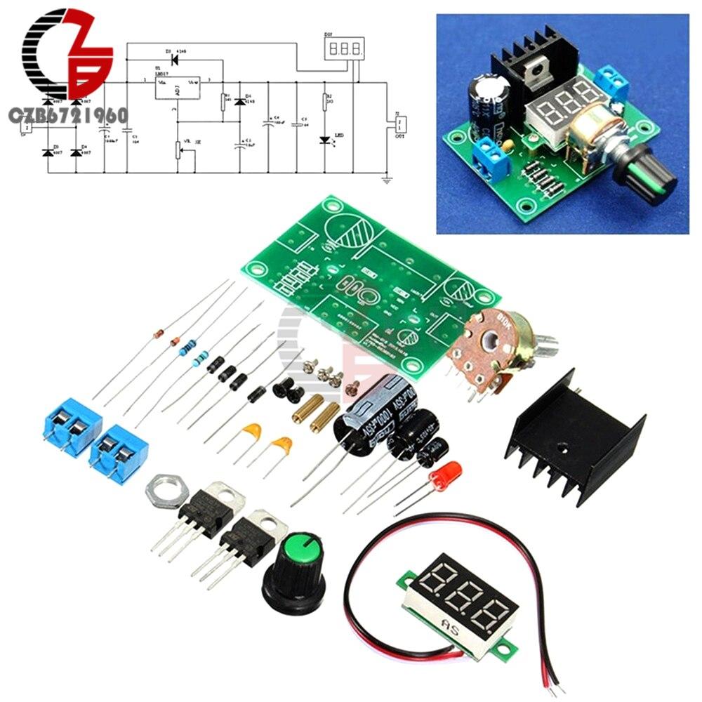 Lm317 Digital Display Adjustable Regulated Voltage Regulators Board Power Supply Using Lm 317 Lm337 Electronic Circuits And Diagram 1 Set Regulator Step Down Module Diy Kit