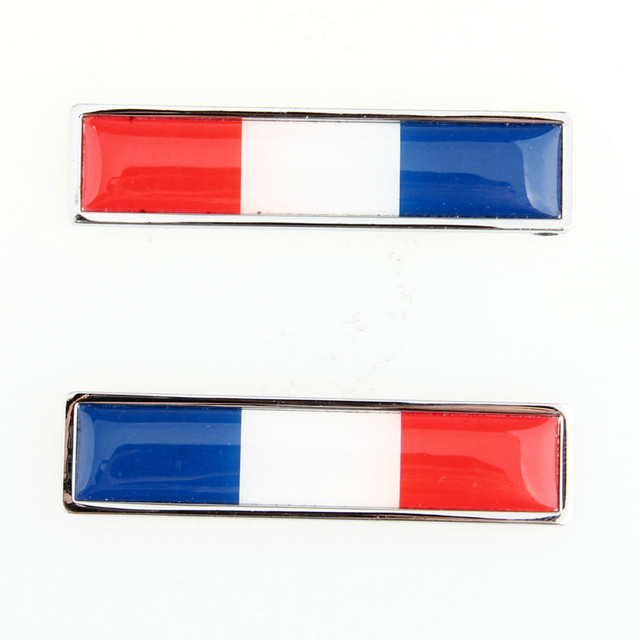 1 pair french flag logo emblem stainless steel car auto 3m 3d door window decals red