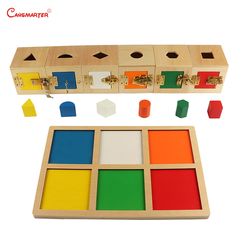 6 Lock Box Exercises Toys Game Home Daily Life Training Wooden Toys Metal Locks School Montessori Educational Materials PR103-3