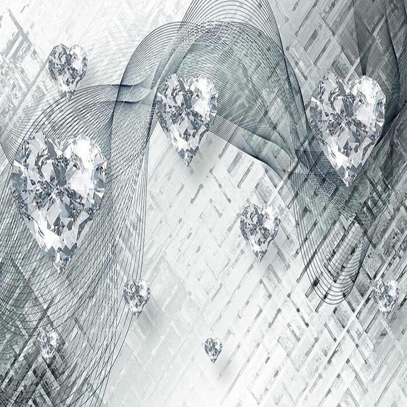 ที่กำหนดเองภาพจิตรกรรมฝาผนังวอลล์เปเปอร์ 3D Line รูปหัวใจเพชรภาพวาดห้องนั่งเล่นห้องนอน Self-กาวสติกเกอร์