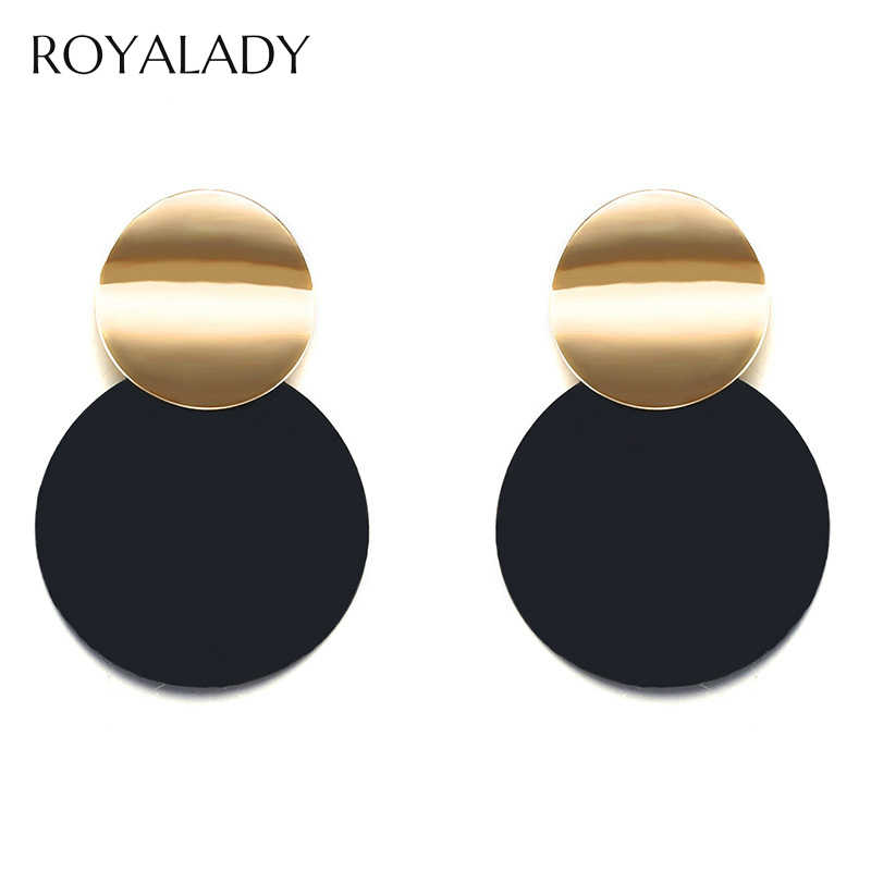 Geometric Round Circle Black Drop Earrings Fashion Double Circle Golden Statement Earrings For Women Hoop Jewelry Exquisite Gift