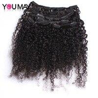 Kinky Curly Clip In Human Hair Extensions 120g Set 3B 3C Clip Ins Mongolian Virgin Hair