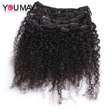 Kinky Curly Clip In Human Hair Extensions 120g/Set 3B 3C Clip Ins Mongolian Virgin Hair You May